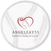 Red And White Angelfayss Round Beach Towel