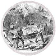 California Gold Rush, 1860 Round Beach Towel
