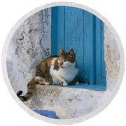 Cat In A Doorway, Greece Round Beach Towel