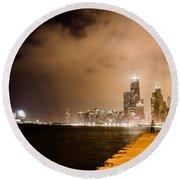 Chicago Skyline Fireworks Round Beach Towel