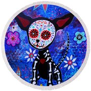 Chihuahua Day Of The Dead Round Beach Towel
