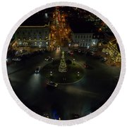 Christmas Lights, Looking West Round Beach Towel