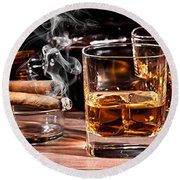 Cigar And Alcohol Collection Round Beach Towel