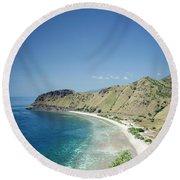 Coast And Beach View Near Dili In East Timor Leste Round Beach Towel