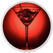 Cocktail Glass With Splashes On Red Background Round Beach Towel