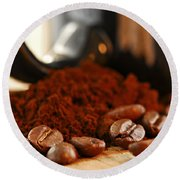 Coffee Beans And Ground Coffee Round Beach Towel