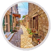 Colorful Mediterranean Stone Street Of Prvic Island Round Beach Towel