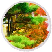 3 Colors Of The Nature 1 Round Beach Towel