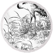 Crane Round Beach Towel