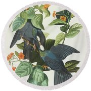 Crowned Pigeon Round Beach Towel