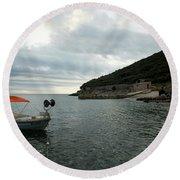 Cunski Beach And Coastline, Losinj Island, Croatia Round Beach Towel
