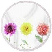 Dahlia Flowers  Round Beach Towel