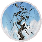 Dead Pine Tree Abstract Round Beach Towel