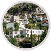 Dhermi Traditional Village View In Southern Albania Round Beach Towel