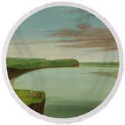 Distant View Of The Mandan Village Round Beach Towel