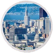 Downtown San Francisco City Street Scenes And Surroundings Round Beach Towel