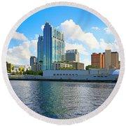 Downtown Tampa Fl, Usa Round Beach Towel