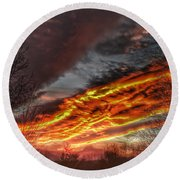 Dramatic Skies Great Smoky Mountains Nc At Sunset In Winter Round Beach Towel