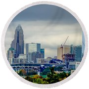 Dramatic Sky And Clouds Over Charlotte North Carolina Round Beach Towel