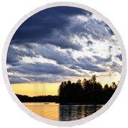 Dramatic Sunset At Lake Round Beach Towel