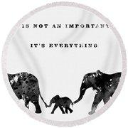 Elephant Family-black Round Beach Towel