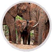Elephants Round Beach Towel