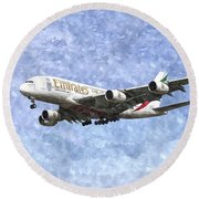 Emirates A380 Airbus Watercolour Round Beach Towel