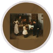 Family Scene In A Kitchen Round Beach Towel