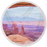 famous Mesa Arch in Canyonlands National Park Utah  USA Round Beach Towel
