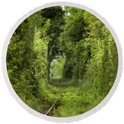 Famous Tunnel Of Love Location Round Beach Towel