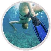 Female Snorkeling Round Beach Towel