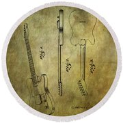Fender Guitar Patent From 1951 Round Beach Towel