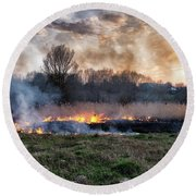 Fires Sunset Landscape Round Beach Towel