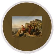 Fisher Families On The Coast Round Beach Towel