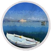 Fishing Boats In Nafplio Town Round Beach Towel