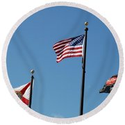 3 Flags Round Beach Towel