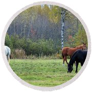 3 Horses Round Beach Towel