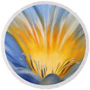From The Heart Of A Flower Blue Round Beach Towel