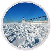 Frozen Lighthouse Round Beach Towel