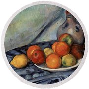 Fruit And A Jug On A Table Round Beach Towel