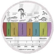 Geologic Time Line Round Beach Towel