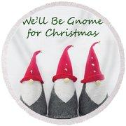 Christmas Gnomes Round Beach Towel