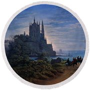 Gothic Church On A Rock By The Sea  Round Beach Towel