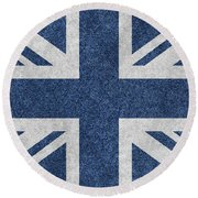 Great Britain Denim Flag Round Beach Towel