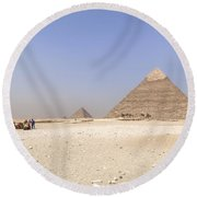 Great Pyramids Of Giza - Egypt Round Beach Towel