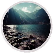 Green Water Mountain Lake Morskie Oko, Tatra Mountains, Poland Round Beach Towel