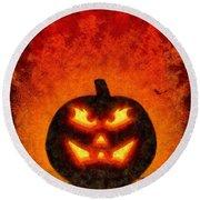 Halloween Pumpkin Round Beach Towel