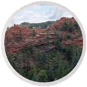 Hiking The Mesa Trail In Red Rocks Canyon Colorado Round Beach Towel