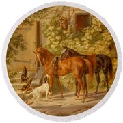 Horses At The Porch Round Beach Towel