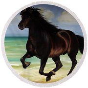 Horses In Paradise  Run Round Beach Towel